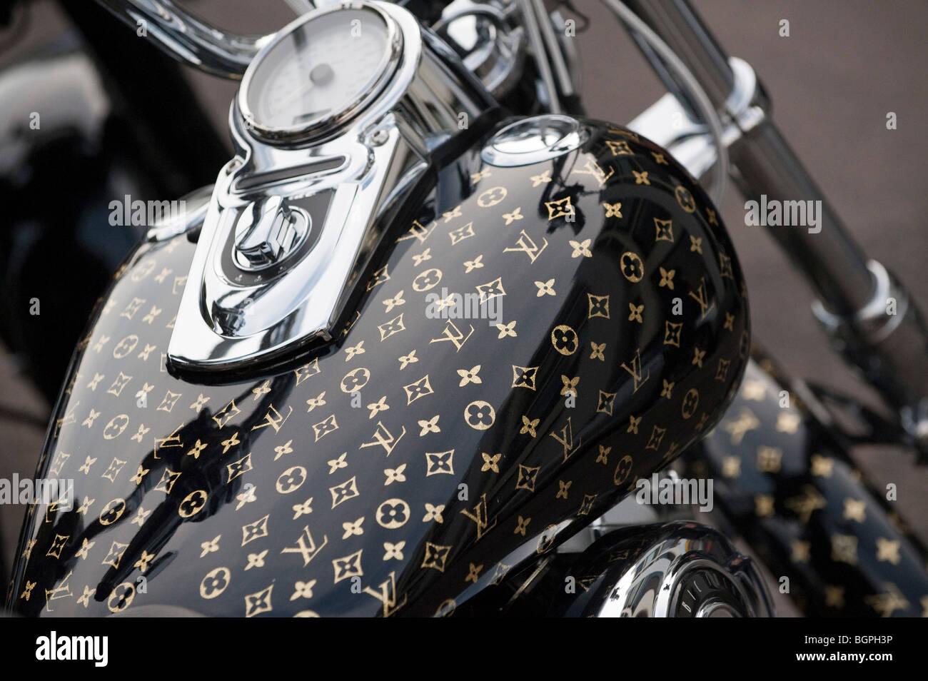 Louis Vuitton Harley Davidson motorcycle - Stock Image