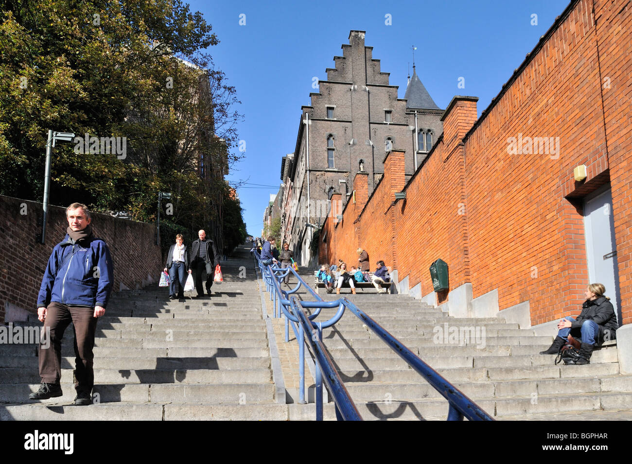 The stairway Montagne de Bueren counts 374 steps, Liège, Belgium - Stock Image