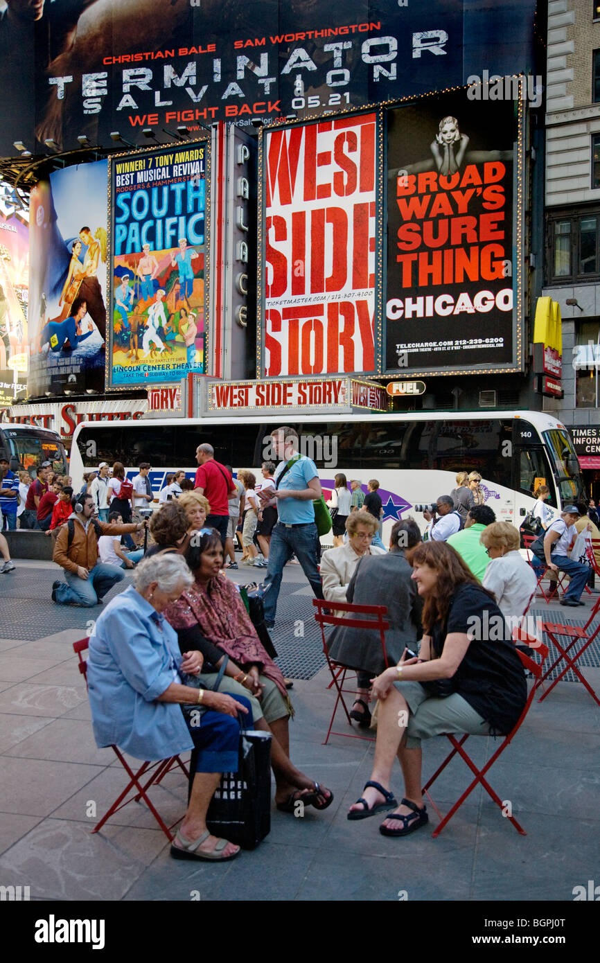 BROADWAY ADS for West Side Story, South Pacific, Terminator and Chicago - NEW YORK, NEW YORK - Stock Image
