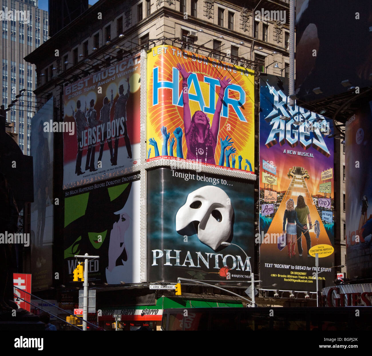 BROADWAY ADS for Phantom, Hair, Rock of Ages, Jersey Boys and Wicked - NEW YORK, NEW YORK - Stock Image