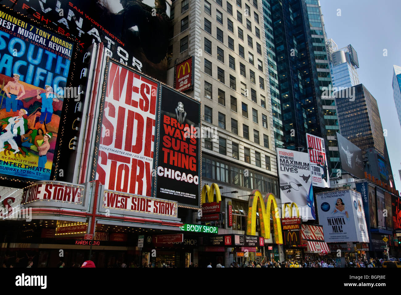 BROADWAY ADS for West Side Story, South Pacific, and Chicago - NEW YORK, NEW YORK - Stock Image