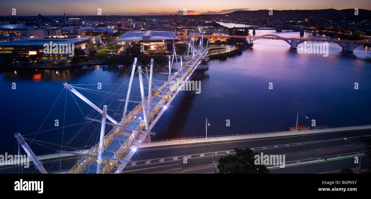 Aerial view of Kurilpa Bridge South Brisbane Queensland - Stock Image