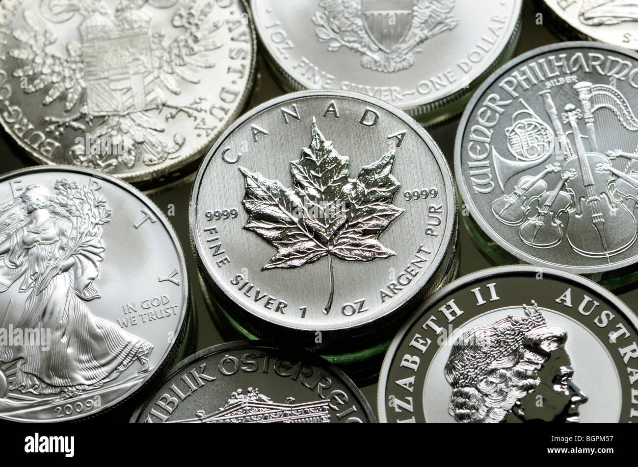 Pure Silver Bullion Coins from USA, Canada, Austria and Australia - Stock Image