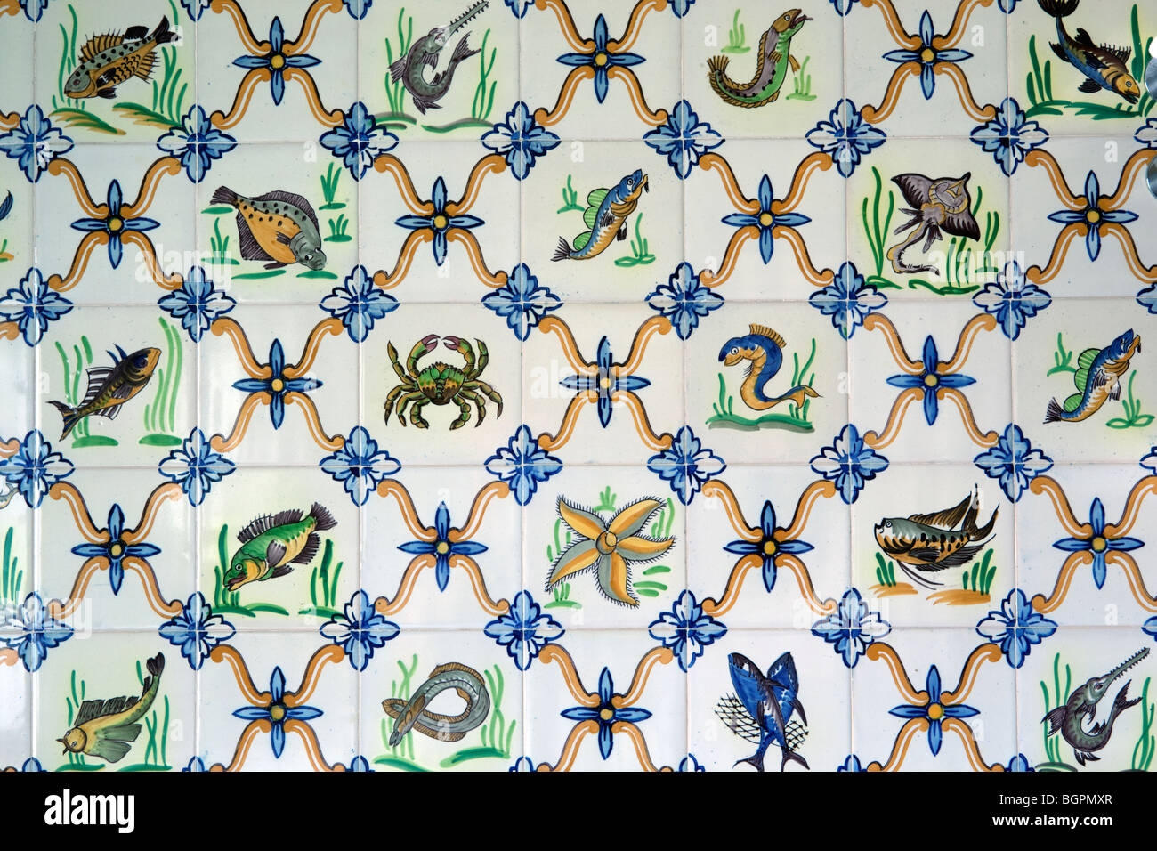 Hand Painted Bathroom Tiles With Fish Theme Stock Photo 27544239