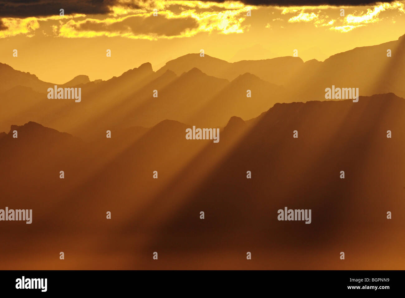 Sunrise in the Alps. Switzerland - Stock Image
