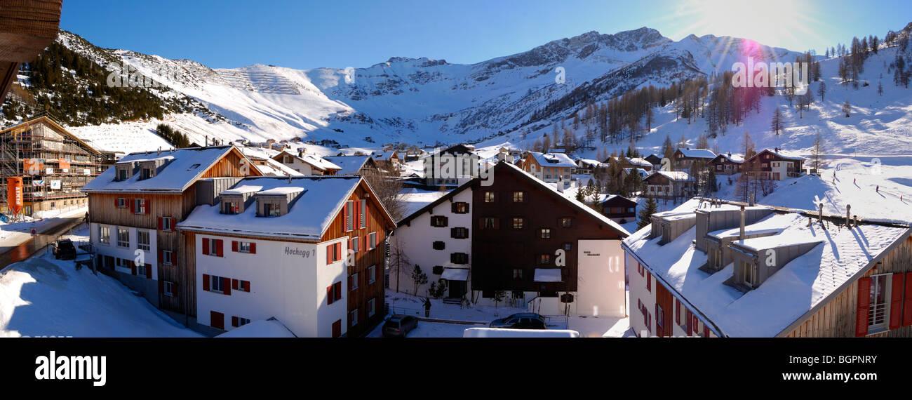 Winter panorama of the alpine village Malbun, Liechtenstein FL - Stock Image