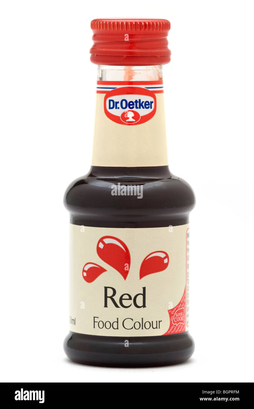 Bottle of 'Dr Oetker' Red food colour dye - Stock Image