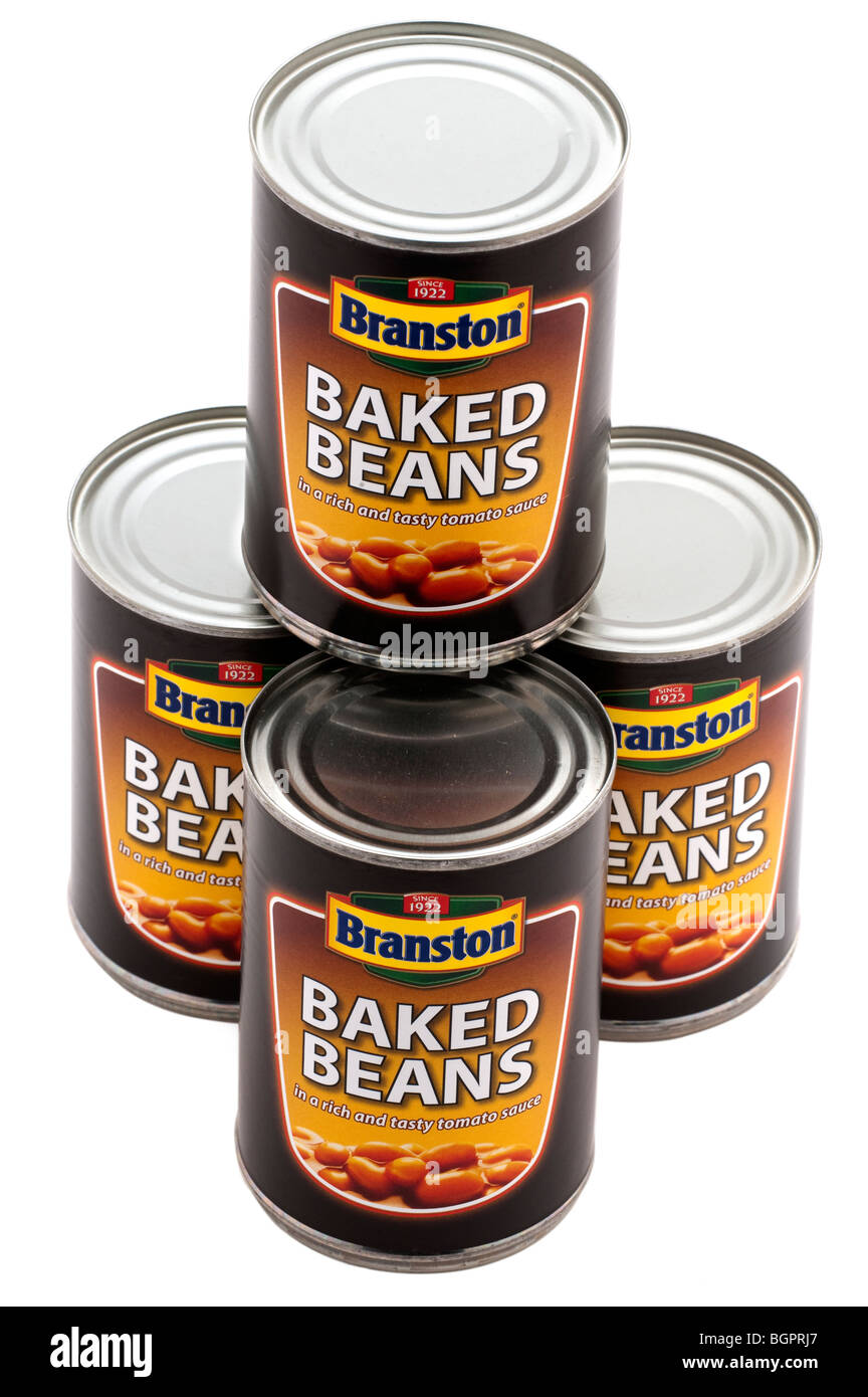 Four Tins of Branston Baked Beans - Stock Image