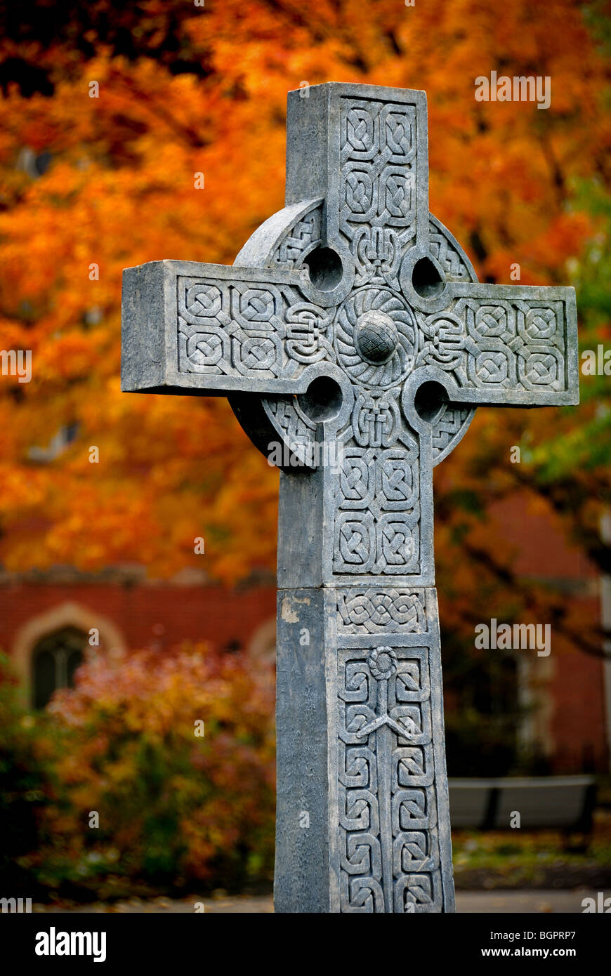 A monument of a cross on the campus of Duquesne University, Pittsburgh, Pennsylvania. - Stock Image