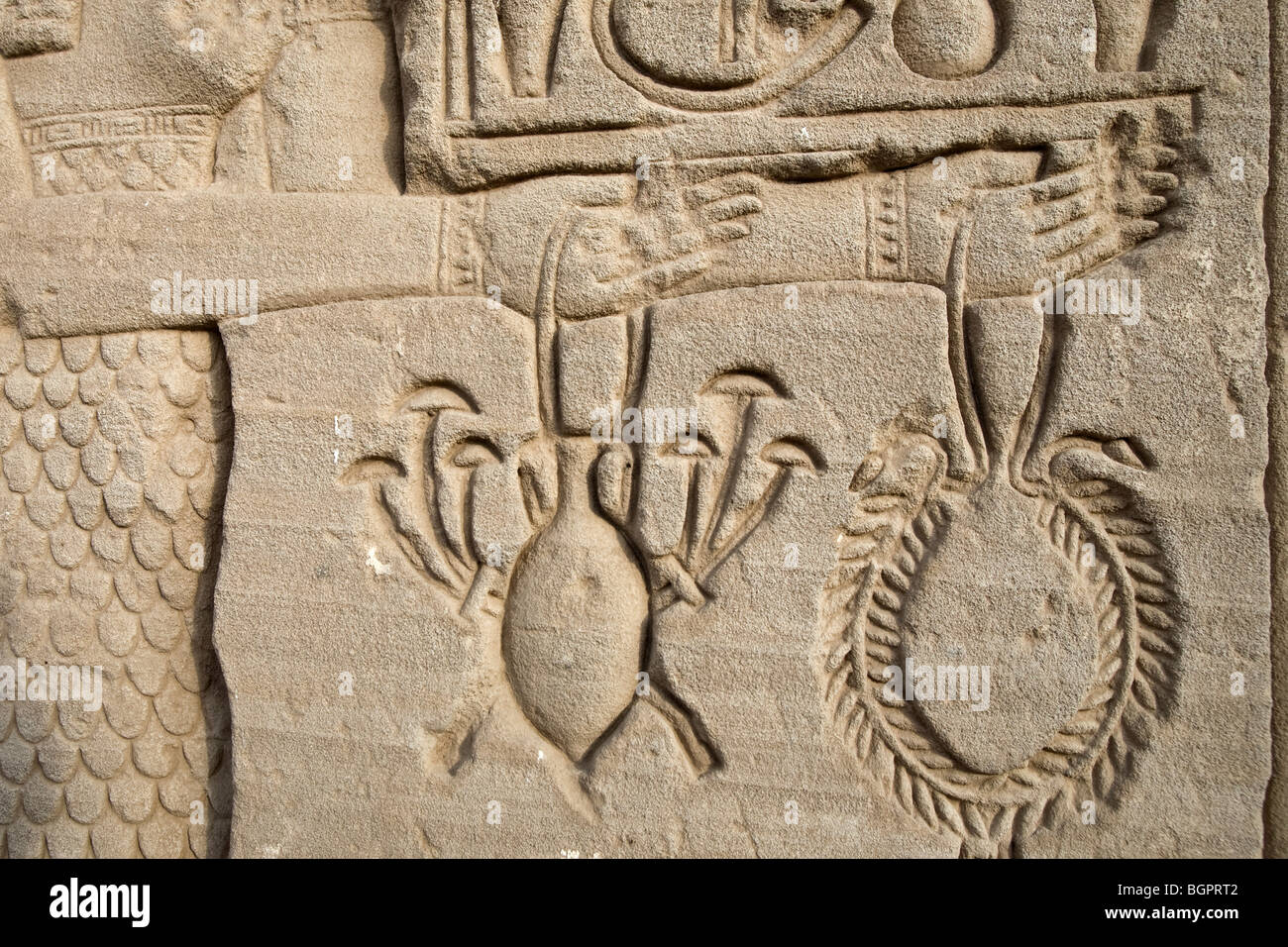 Relief work at the Ptolemaic Temple of Hathor at Dendera, North of Luxor, Nile Valley, Egypt - Stock Image
