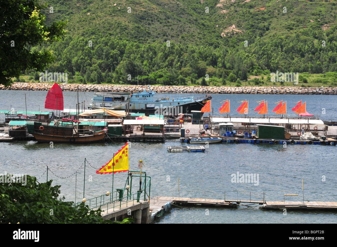 Junks and fishing boats moored alongside a floating fish farming pier with flying flags, Sok Kwu Wan, Lamma Island, - Stock Image
