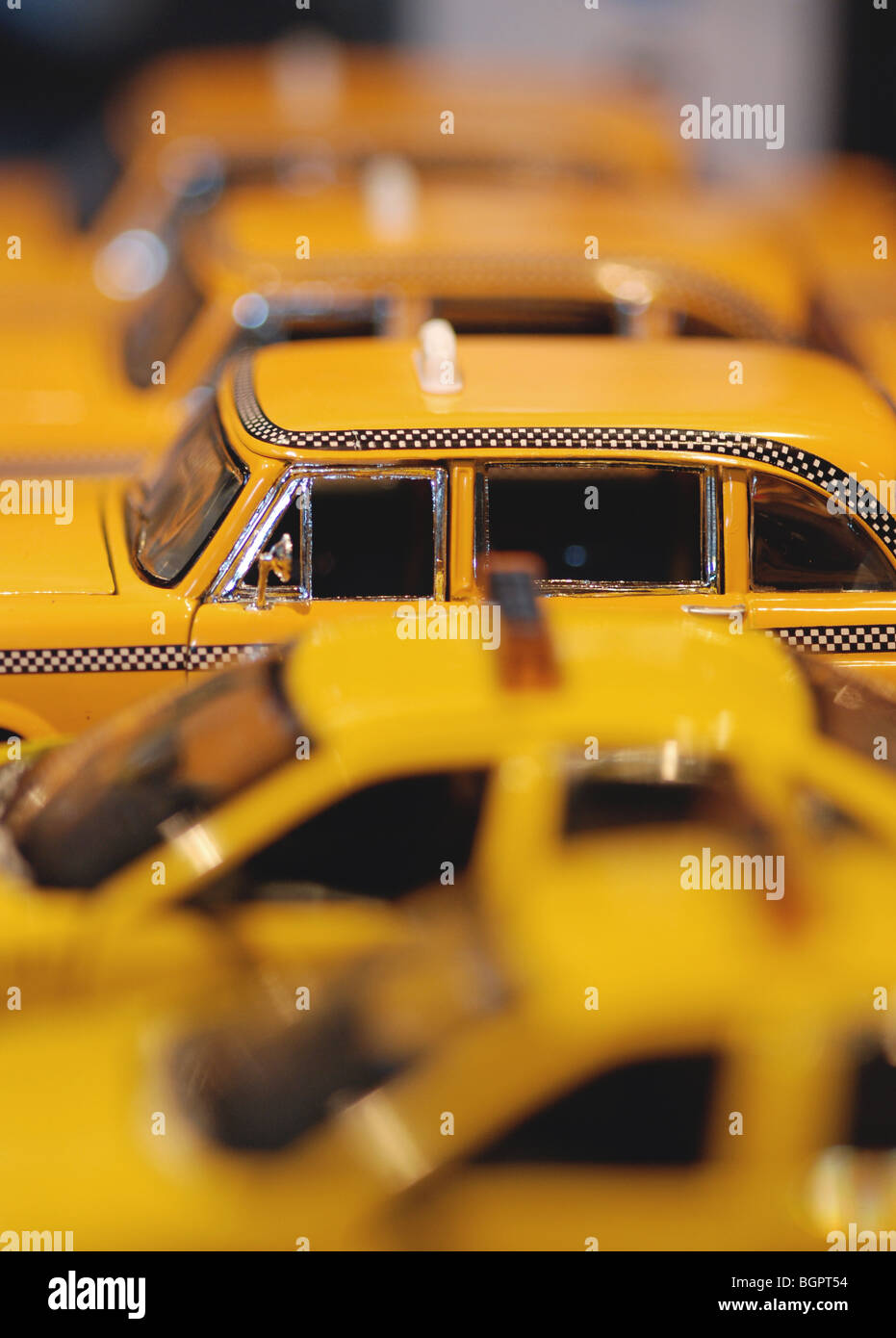 Macro close-up of a row of toy taxis in New York Stock Photo