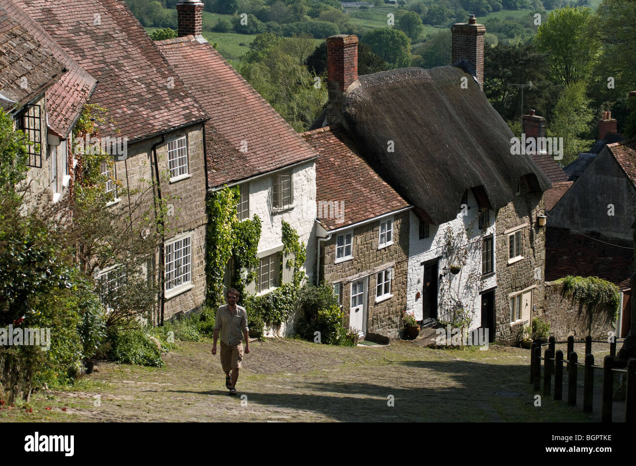 Gold Hill Shaftesbury - Stock Image