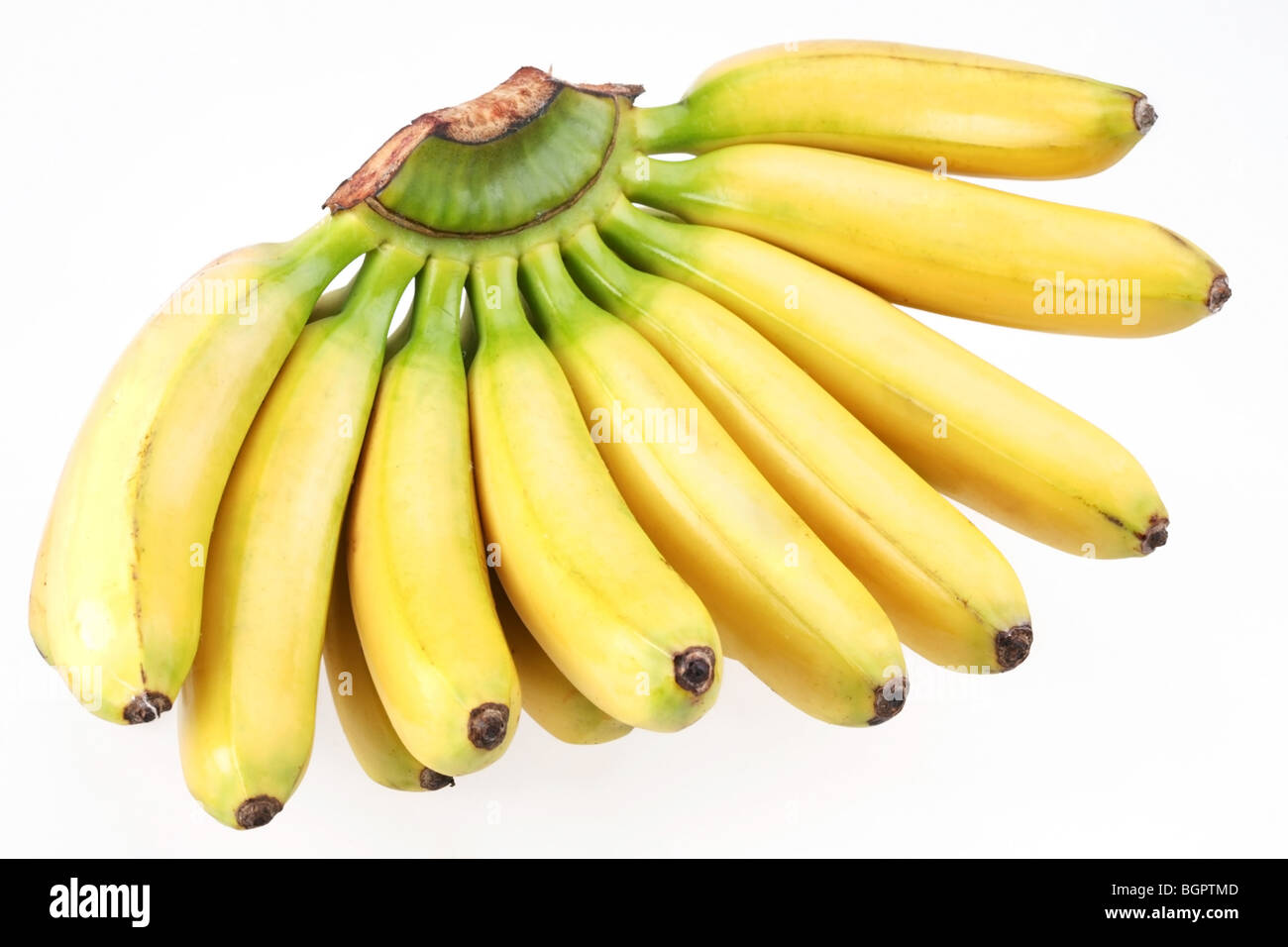Bunch of bananas isolated on white background - Stock Image