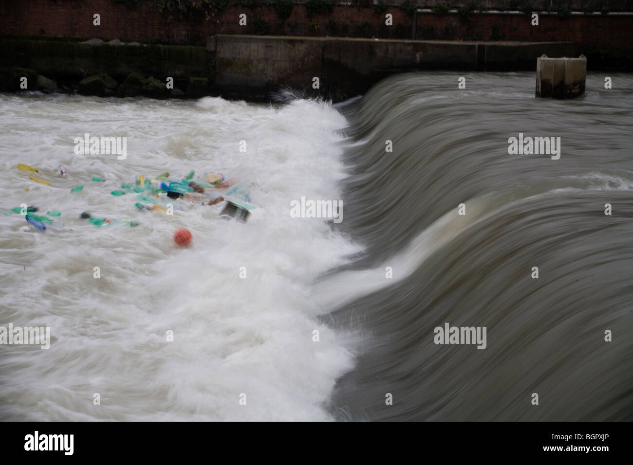 Plastic bottles and garbage floating on the River Tevere, Rome, Italy. - Stock Image