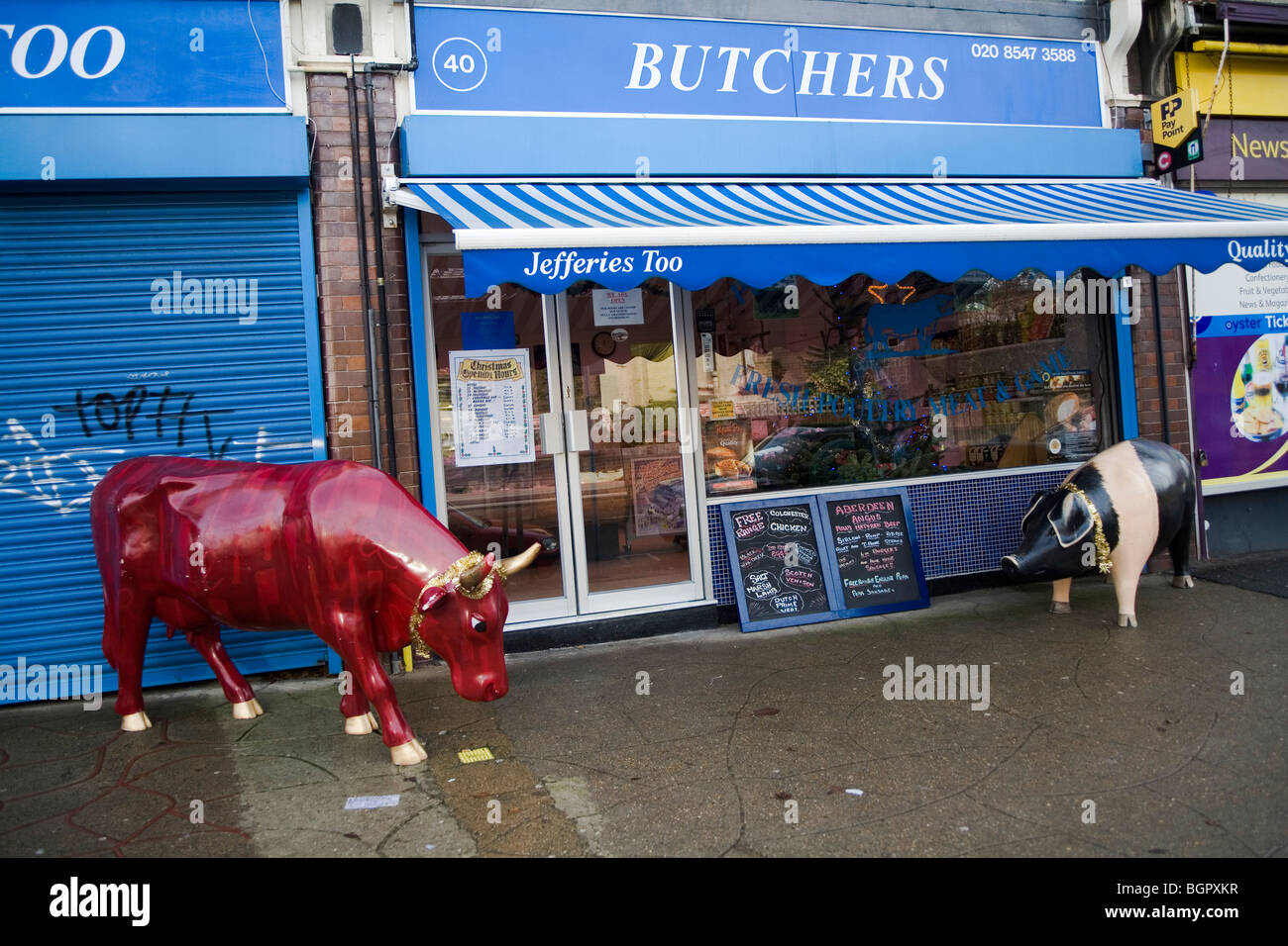 Butchers shop with animals in front of the shop London, England, Britain, UK - Stock Image