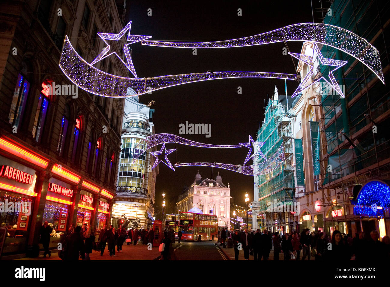 Christmas In England.Christmas Decorations London England Britain Uk Stock