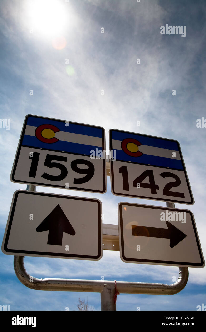 Road signs Highway 159 and 142, San Luis, Colorado, USA - Stock Image