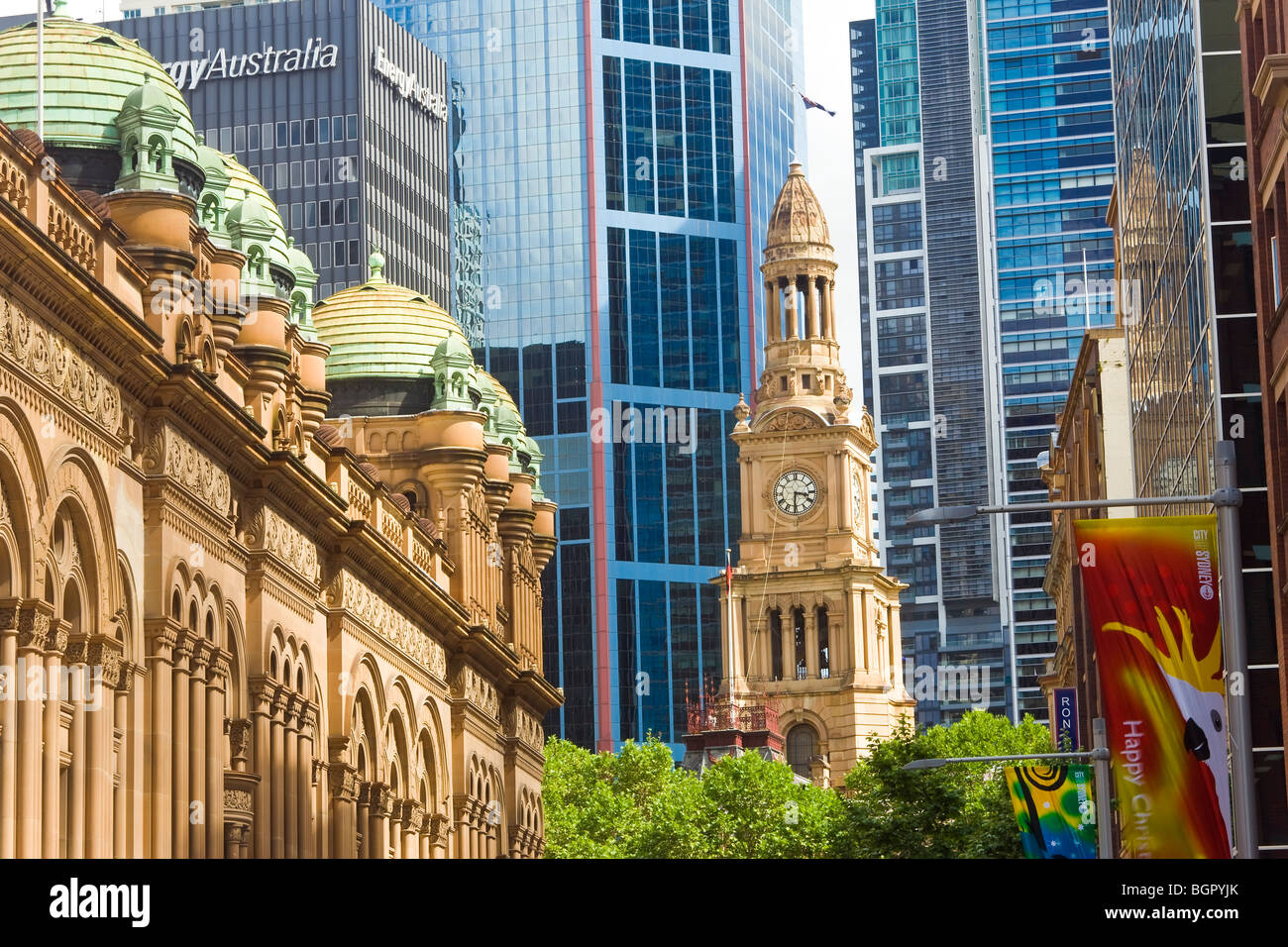 Australia, Sydney, Queen Victoria Building(left side) & Town Hall (with clock face) - Stock Image