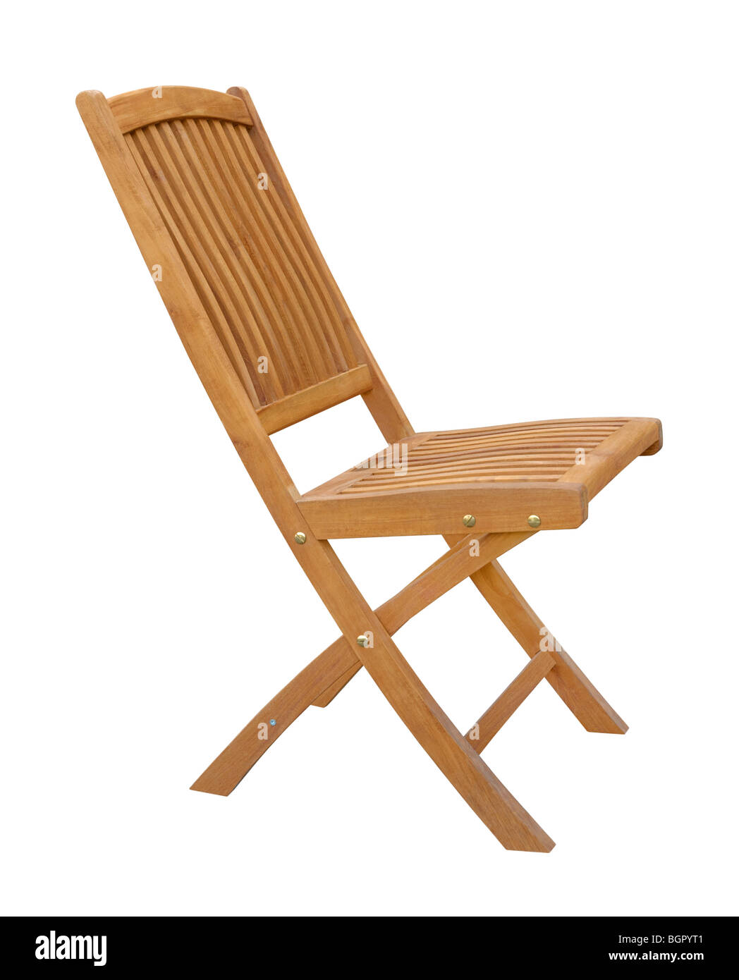 Wooden chair isolated on white background - Stock Image