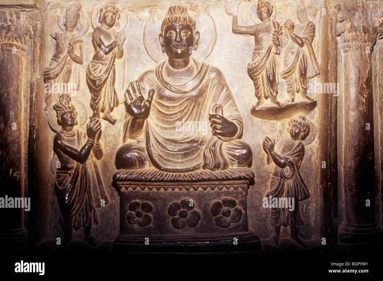 Bronze Buddha from the Gandhara civilisation Pakistan - Stock Image