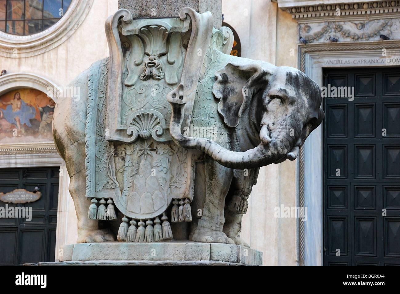 Pulcino della Minerva elephant sculpture in Piazza Minerva, Rome, Italy - Stock Image