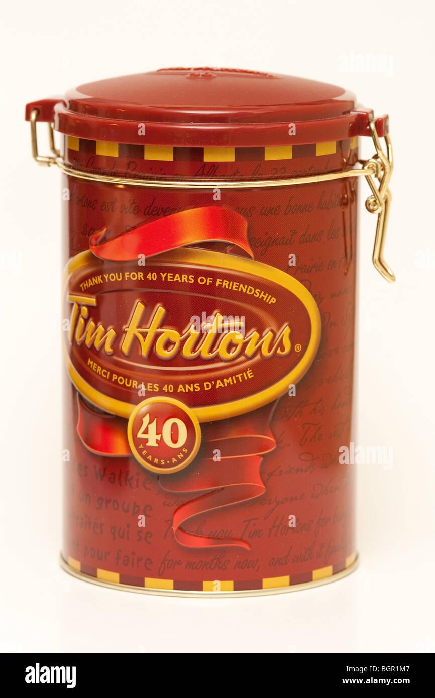 Tim Horton 40th anniversary tin can - Stock Image