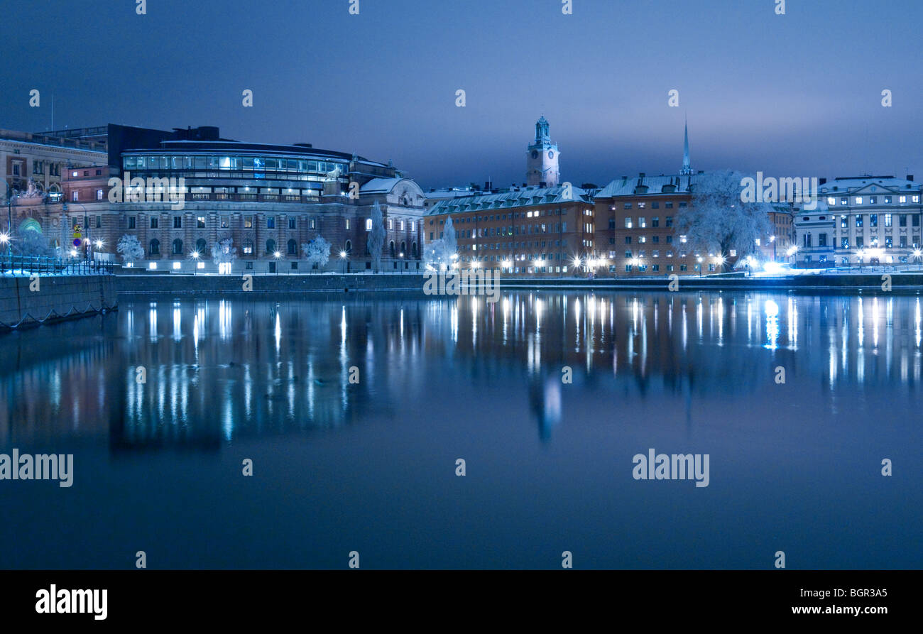 View of the Swedish parliament buildings on Helgeandsholmen and Gamla Stan seen from Strömgatan, Stockholm Sweden Stock Photo
