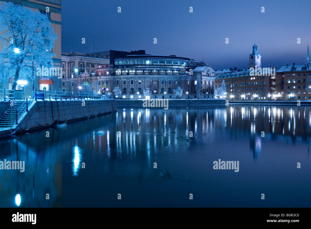 View of the Swedish parliament buildings on the island of Helgeandsholmen, seen from Strömgatan, Stockholm, Sweden Stock Photo