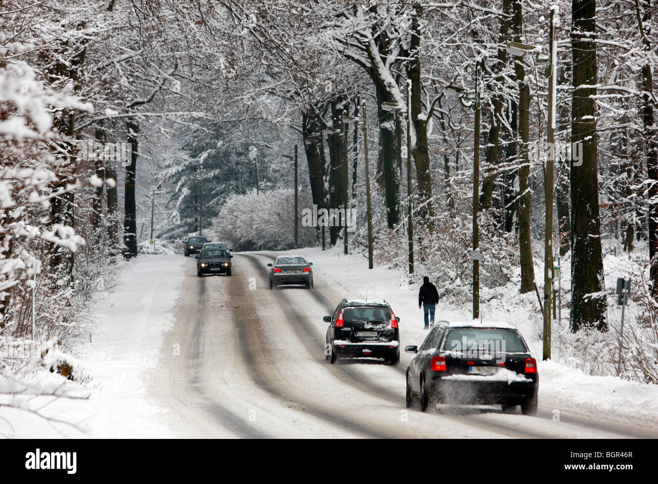 Country road in winter, snow conditions, Germany - Stock Image
