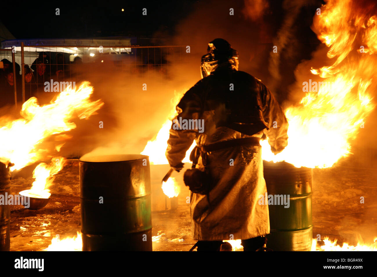 European city of culture 2010 Essen Germany, Zeche-Zollverein, World Cultural Heritage, fireman, fire - Stock Image