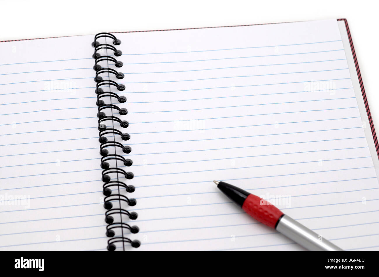 Open Notebook with Pen - Stock Image