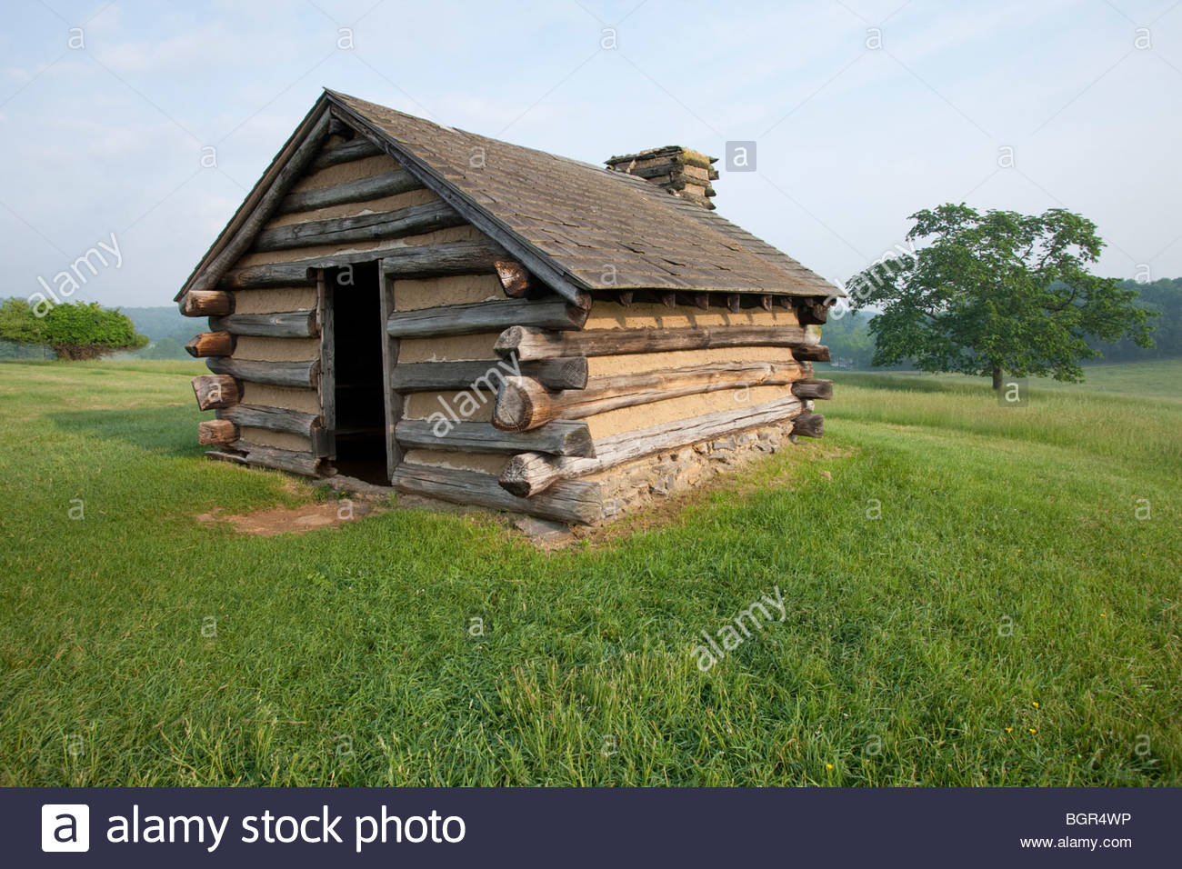 Log Cabin, Valley Forge National Park, Pennsylvania - Stock Image