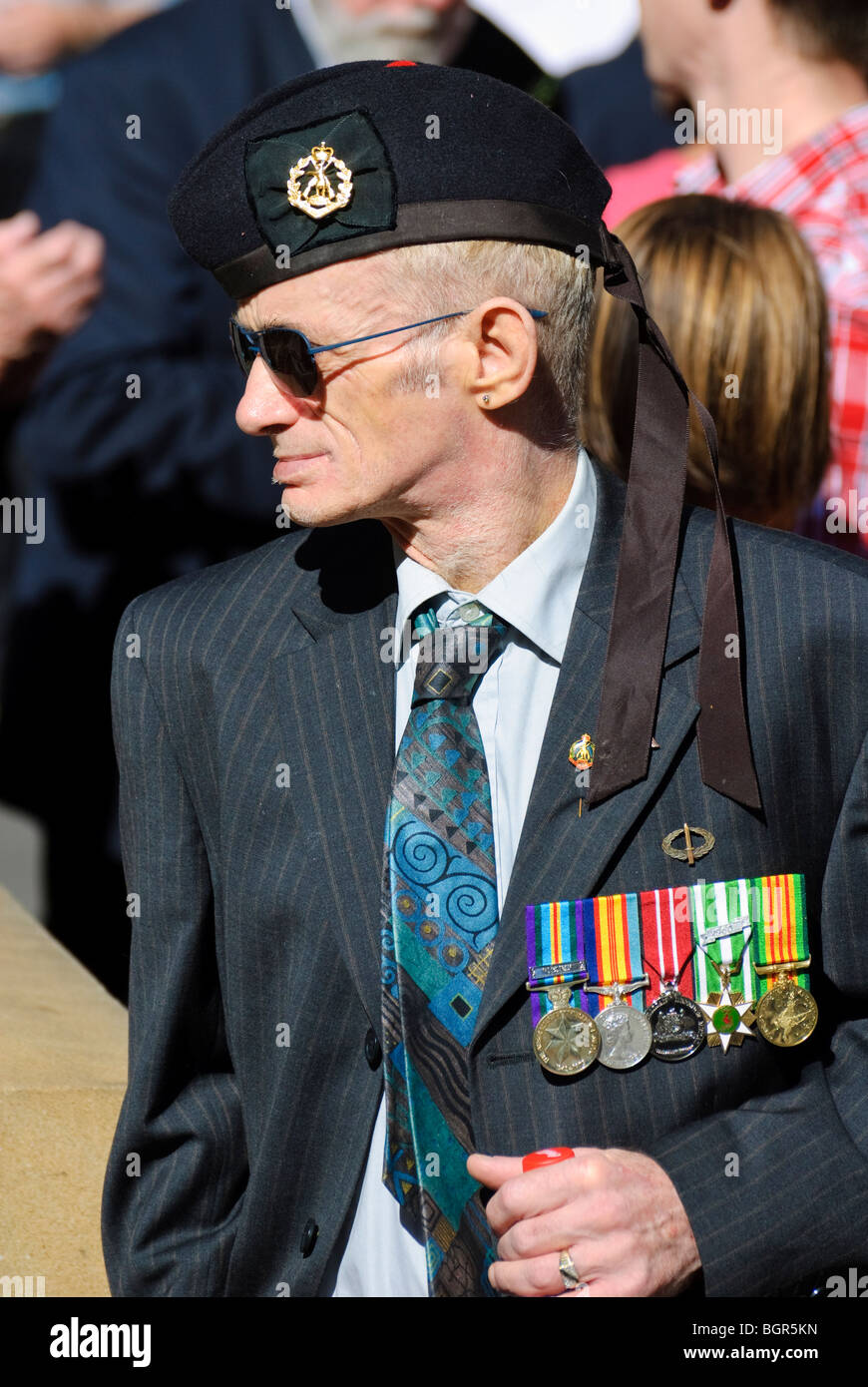 Military veteran, proudly wearing his medals. - Stock Image