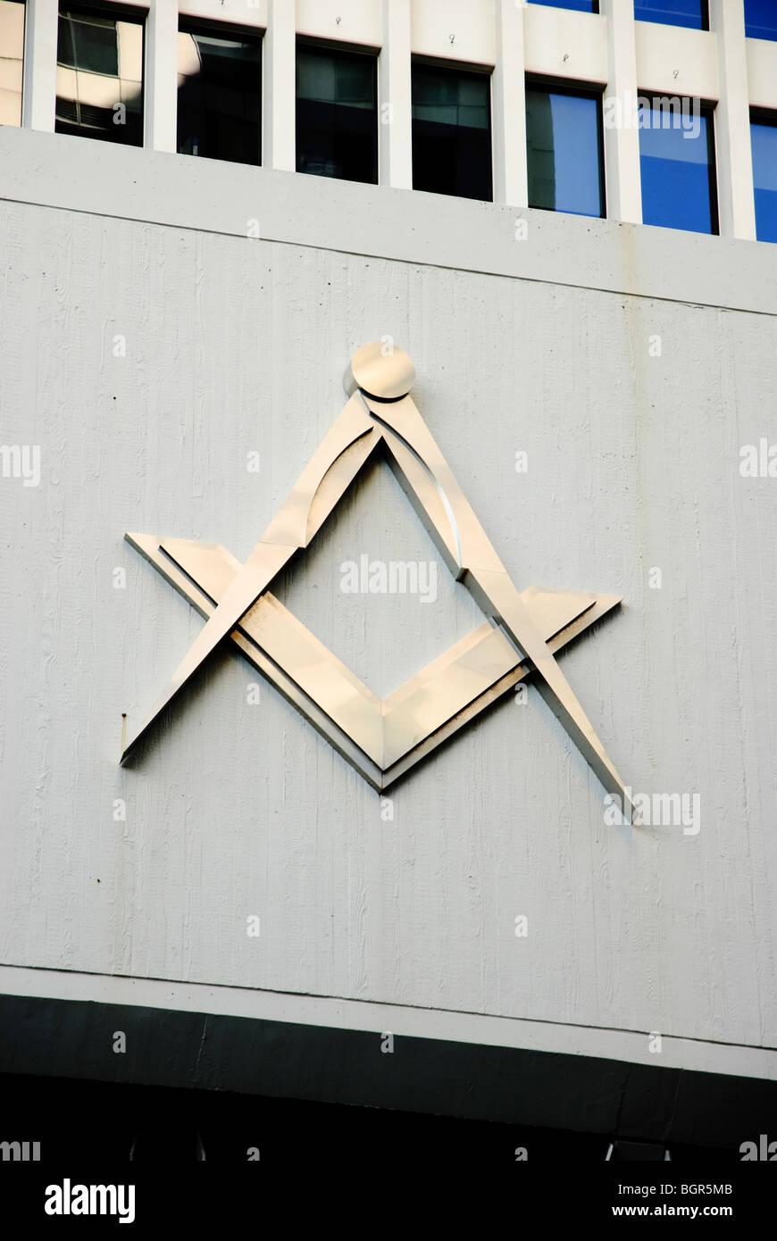 Masonic symbol. Freemason symbol. Freemasonry. Masonic compass. - Stock Image