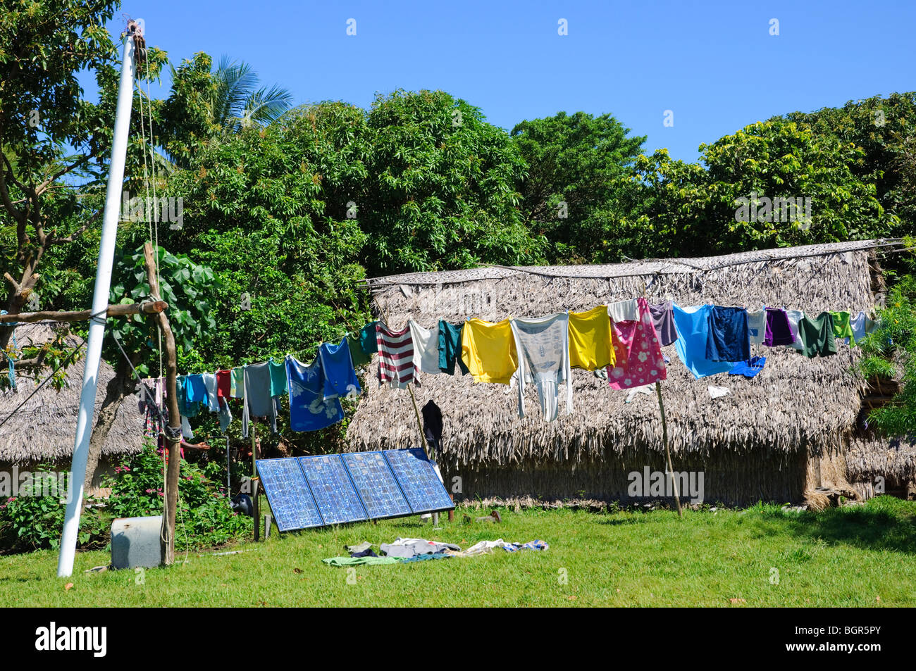 Solar panels power a village in Vanuatu, South Pacific. - Stock Image