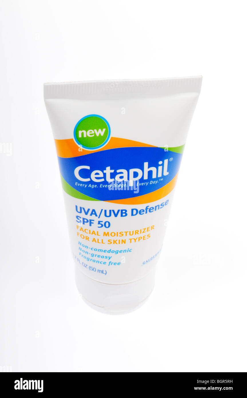 Tube of Cetaphil Facial Moisturizer on white background - Stock Image