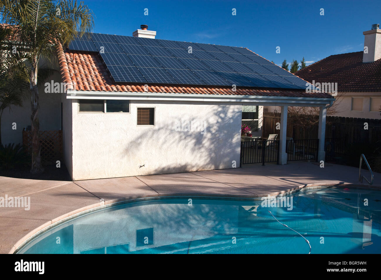 Solar electric panels, residence roof. - Stock Image