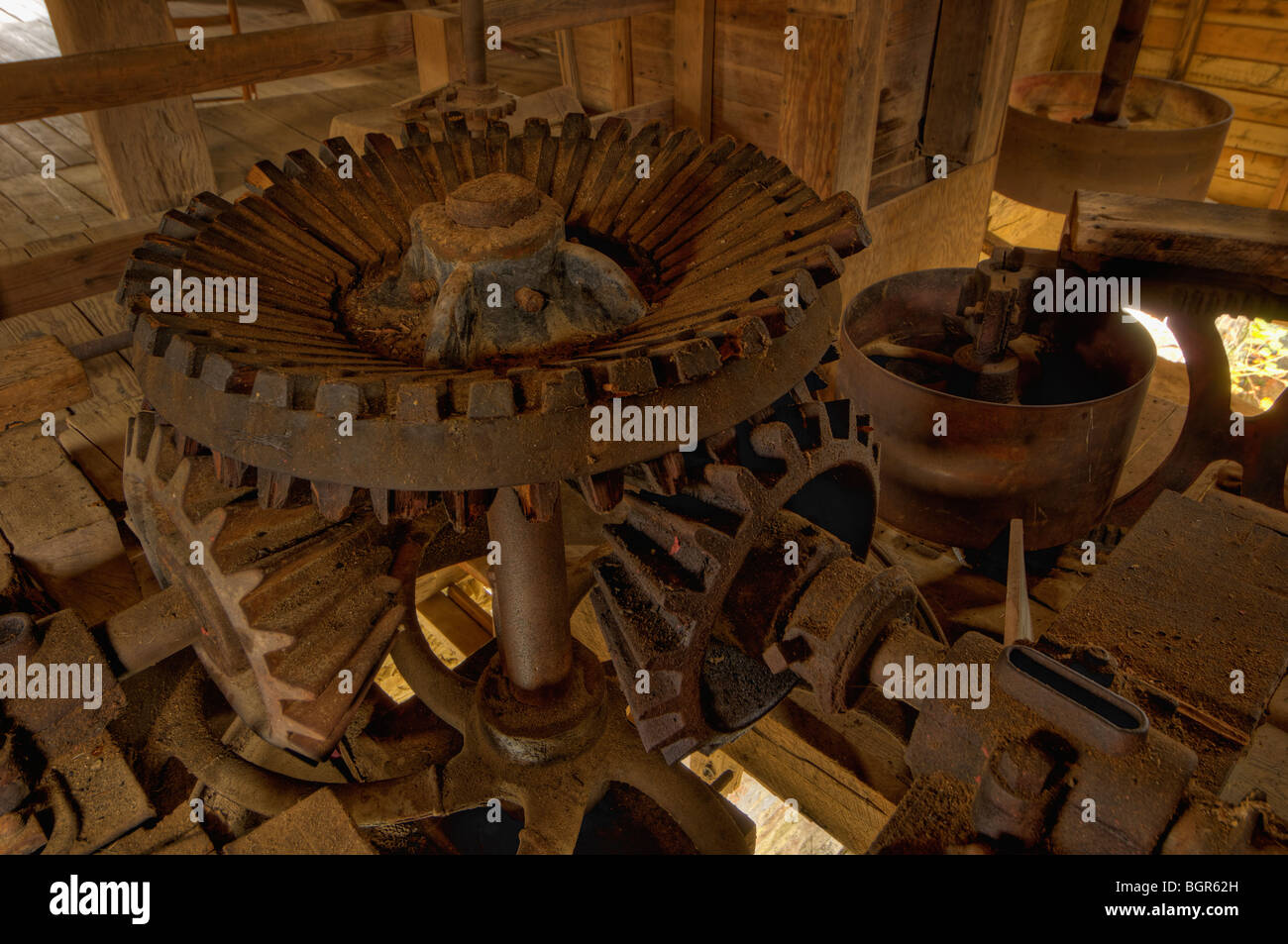 Gears inside of the York Grist Mill in Pall Mall, Tennessee - Stock Image
