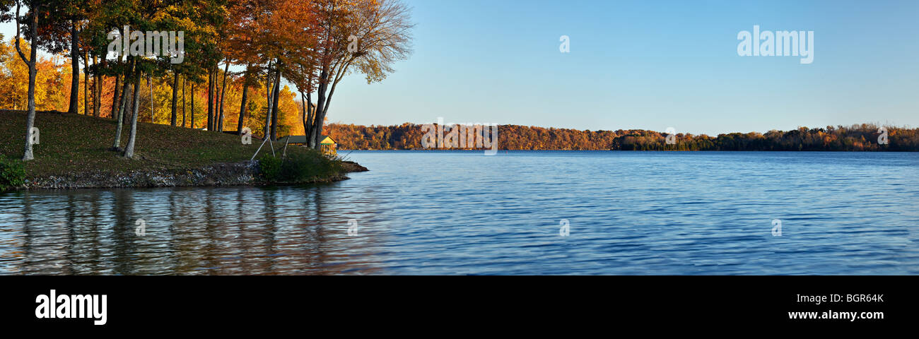 Panorama of Autumn Color on Watts Bar Lake in Rhea County, Tennessee - Stock Image