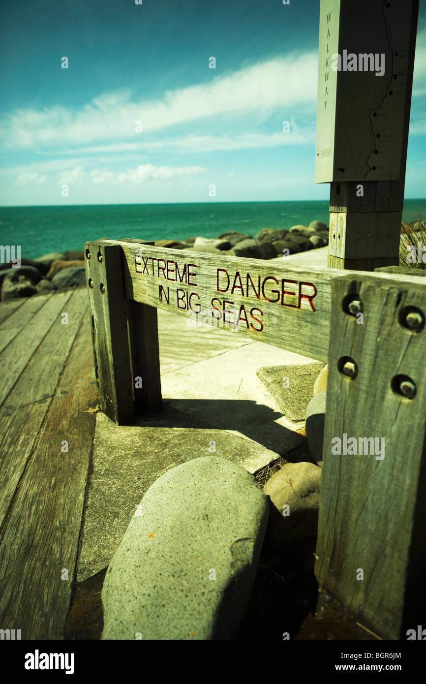 Coastal Path warning sign, New Plymouth, Taranaki, New Zealand - Stock Image