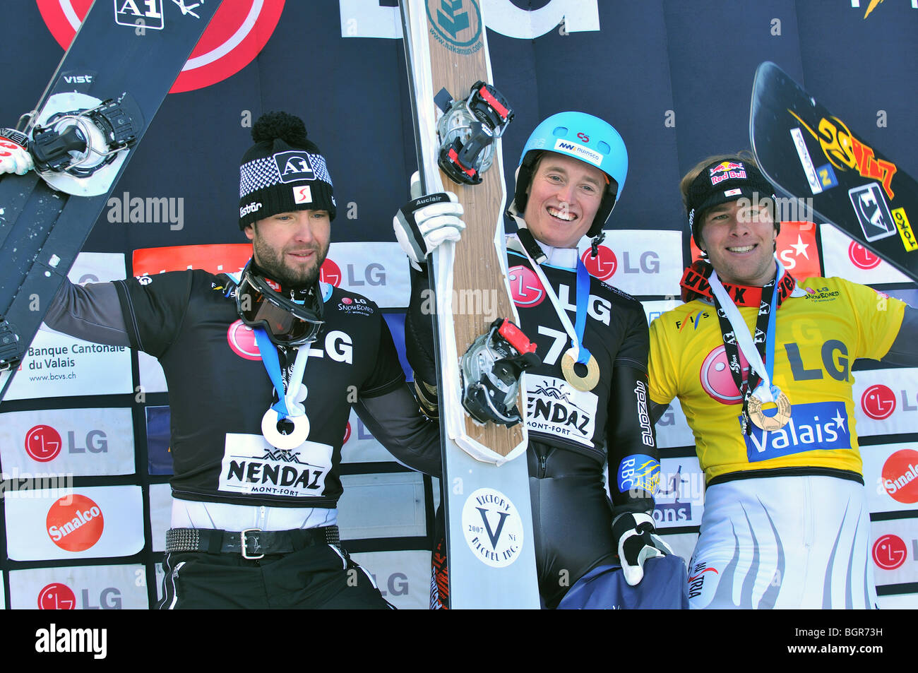 Snowboard mens world cup giant parallel podium Stock Photo