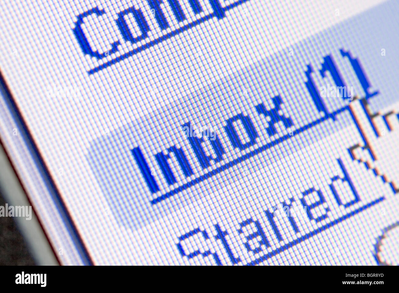 Monitor screen showing email in the inbox - Stock Image