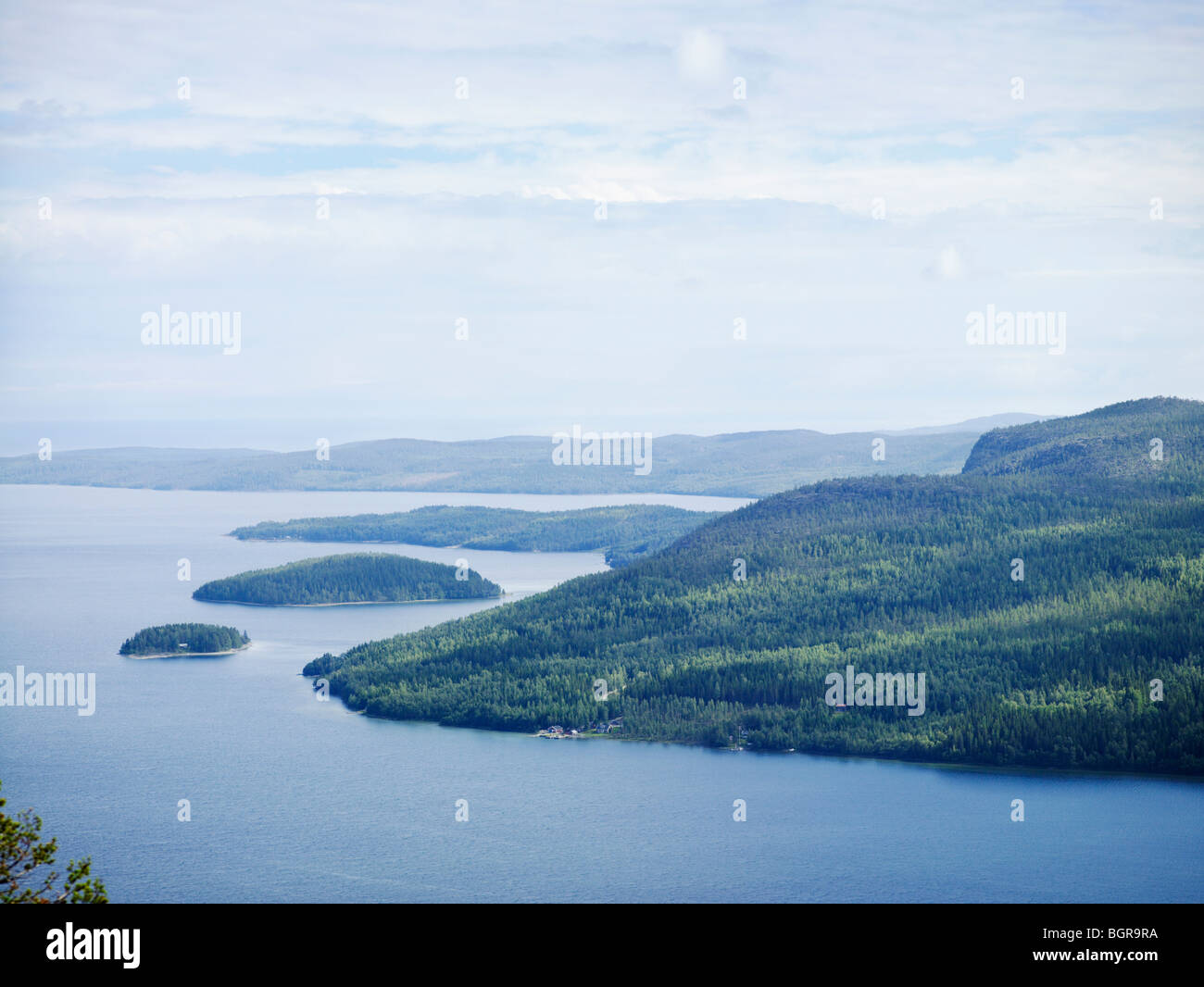 The view from a mountain over the sea, Hoga Kusten, Sweden. - Stock Image