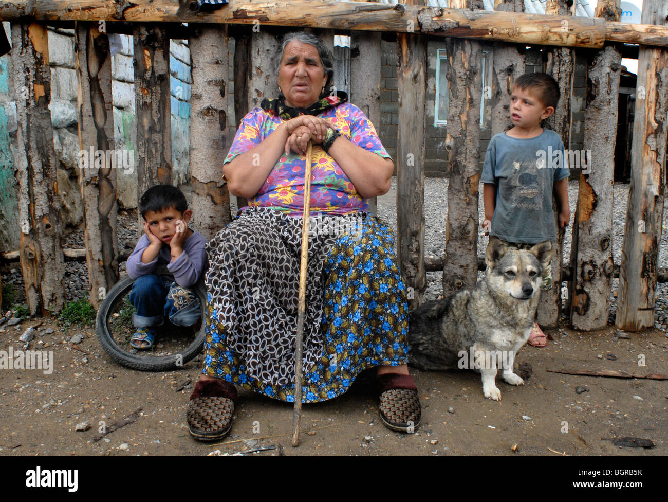 Roma community members. Many of them have been to Ireland to beg and the ones who came back are planning to return - Stock Image
