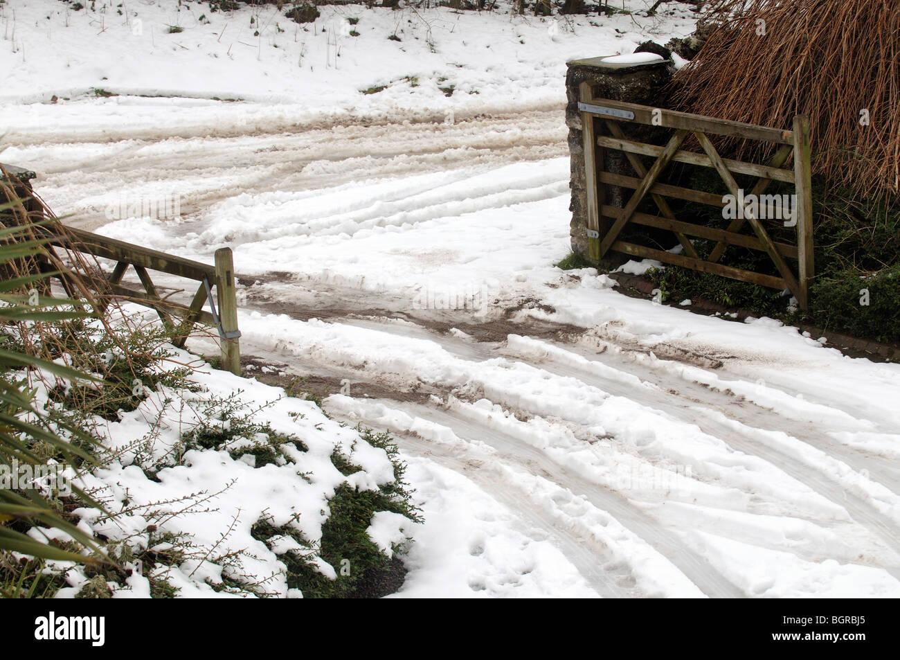 Open five bar gates with tyre tracks through the snow - Stock Image
