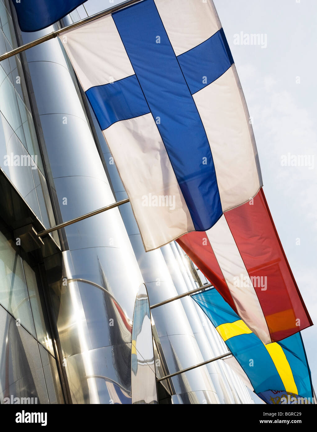 Nordic flags on a facade, Sweden. - Stock Image