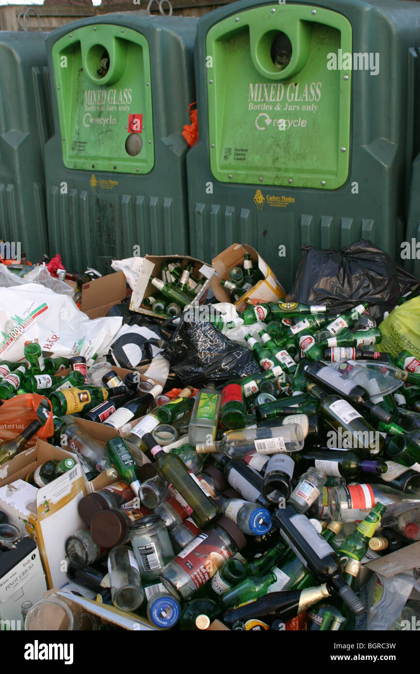 Aftermath of Christmas at a bottle bank UK 2009 - Stock Image