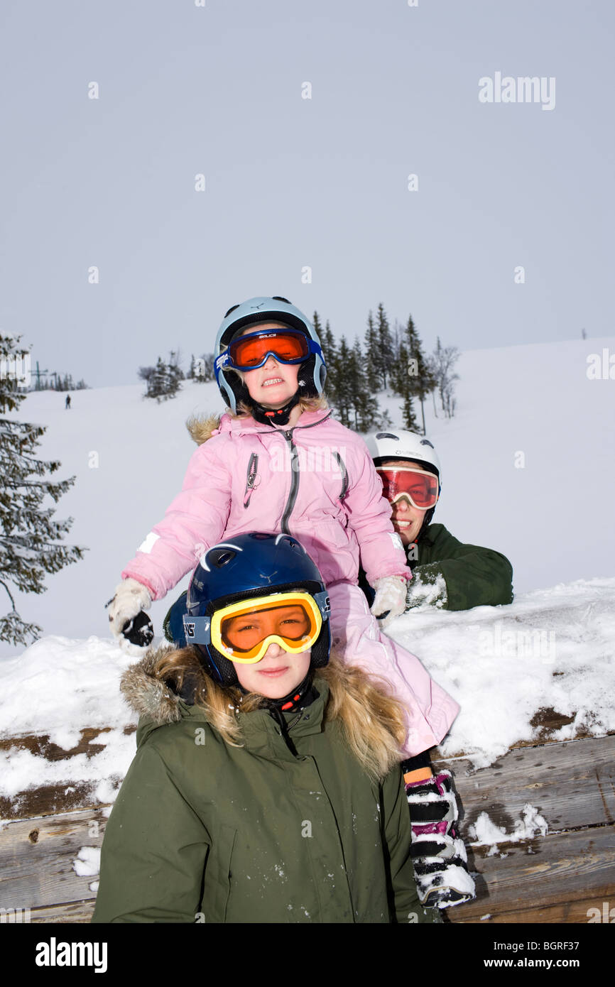 Portrait of a family in a slalom slope, Sweden. - Stock Image