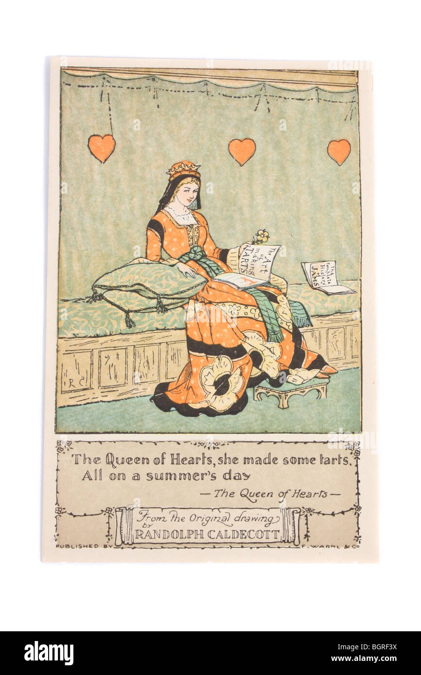 An antique postcard from an original drawing by Randolph Caldecott depicting the nursery rhyme 'The Queen of - Stock Image